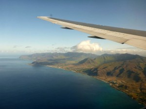 Our first glimpse of Hawai'i!