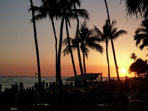 Sunset over Waikiki beach.