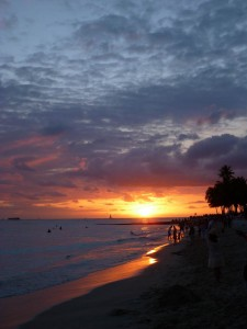 Sunset over Waikiki beach, Oahu, Hawaii