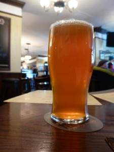 A pint of Fat Tug IPA by Driftwood Brewery.